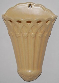 Weller Pottery Classic Ivory Wall Pocket from Just Art Pottery