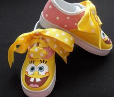 Sponge Bob Hand Painted Childrens Shoes by tickledtoes on Etsy, $36.00