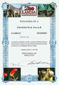 HWPH Historisches Wertpapierhaus AG / Zoolandia OY, Namensaktie über 200 Finnische Mark, Serie B, Liedossa, 01.12.1988