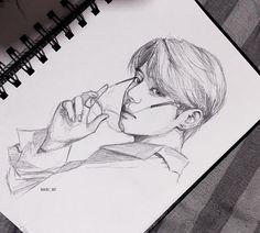 Kpop Drawings, Pencil Art Drawings, Realistic Drawings, Art Drawings Sketches, Drawing Drawing, Fanart Kpop, Taehyung Fanart, Jungkook Fanart, Fan Art