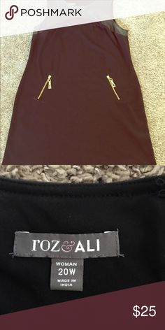 Knee Length Black Dress Knee length Black dress with pleather accents and gold zippers, only worn once Roz & Ali  Dresses Midi