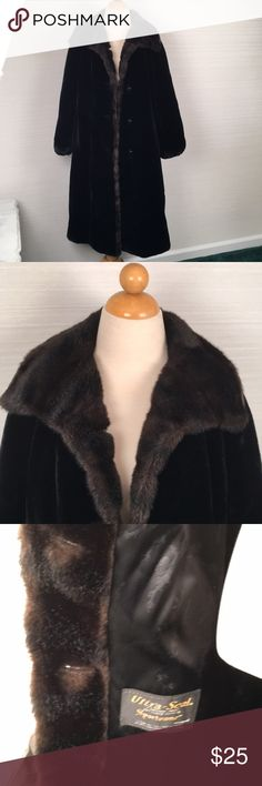 Vintage faux mink fur black coat winter This did NOT come from a smoke free home. I will apply febreeze before shipping. Faux black mink with brown trim. Elastic cuffs. Tear in lining in one armpit. Otherwise good condition. The price reflects flaws and will not be lowered unless bundled. Measurements coming. Jackets & Coats