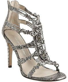 Jean-Michel Cazabat  pearl white snakeskin printed leather 'corina' sandals:::