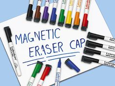 For kids board Magnetic Write & Wipe Markers with Eraser Caps at Lakeshore Learning