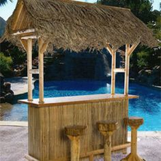 The portable, outdoor Tiki Bar can be used anywhere. Great by the poolside or on a deck, and adds a tropical atmosphere to your screened-in porch or anywhere indoors. Easily stores away for the winter. Tiki Hut, Pool Bar, Tiki Bar For Sale, Bars Tiki, Tiki Bar Stools, Portable Island, Outdoor Tiki Bar, White Cedar, Red Cedar
