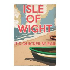 Isle of Wight Vintage locomotive Travel Poster Gallery Wrap Canvas