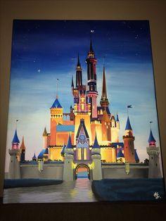 Disney Cinderella Castle painting on canvas✨🏰 Disney Canvas Paintings, Disney Canvas Art, Easy Paintings, Disney Castle Drawing, Disney Drawings, Art Drawings, Disney Kunst, Arte Disney, Disney Art