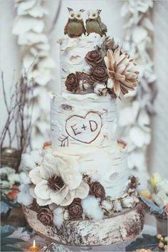Tarta cake boda madera pájaros rústica