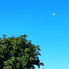 Blue skies today and you can just make out the moon #summer
