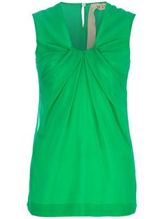 Green silk blend sleeveless blouse from N° 21 featuring a V-shape neck, a knot detail to the front, wide shoulder straps and a buttoned keyhole opening to the back.