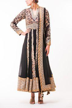Black and Gold Collar Anarkali