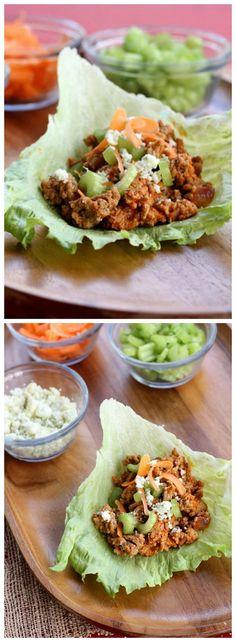 Buffalo Turkey Lettuce Wraps #turkey #lettuce #wraps