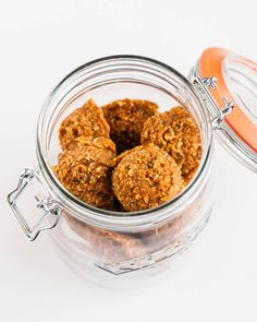 "Wow - no oats or ""carbs""... Just nuts, dates, coconut and spices... sounds delish!! ~ Carrot Cake Energy Bites - For the Love of..."