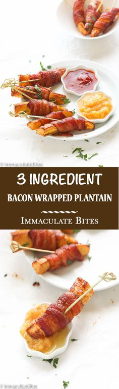 Bacon wrapped plantain- Plantain with a touch of heat, wrapped with bacon and sprinkled with spice. Easy, yet delicious appetizer, snack and/or breakfast.