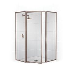 """Coastal Industries Legend Series Framed 29"""" x 70"""" Neo-Angle Shower Enclosure Frame Finish: Brite Silver (Chrome), Glass Type: Clear"""