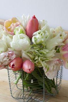 Tulips, spring flowers, spring arrangement, egg cage as vase, Easter flowers My Flower, Fresh Flowers, Spring Flowers, Beautiful Flowers, Spring Bouquet, Easter Flowers, Pastel Bouquet, Gorgeous Gorgeous, Spring Blooms
