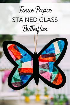 Tissue Paper Stained Glass Butterflies Live, Love, Simple intended for Parchment Paper Crafts For Kids. How to Make Paper Crafts for kids, Easy Paper Crafts For Toddlers Tissue Paper Crafts, Paper Plate Crafts, Paper Crafts For Kids, Wax Paper, Kid Crafts, Butterfly Outline, Glass Butterfly, Butterfly Crafts, Dyi Projects For Kids