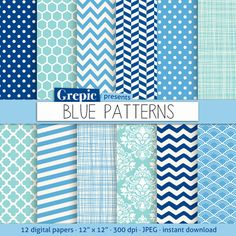 Blue digital paper BLUE PATTERNS blue digital paper with by Grepic, $4.80