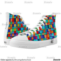 High-Top sneakers. Abstract digital art full of squares of all colors as blue, red, green or orange. #Abstract #digitalart #colors #blue #red #green #orange #sneakers #customsneakers Orange Sneakers, High Top Sneakers, Abstract Digital Art, Red Green, Blue, Custom Sneakers, On Shoes, Converse Chuck Taylor, Squares