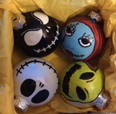 The Nightmare Before Christmas Ornaments Set of 4 Hand Painted Glass ornaments