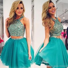 Two Pieces Dark Green Tulle with Rhinestone Beaded Homecoming Dresses,Short prom dress,Sleeveless dress Elegant Homecoming Dresses, Two Piece Homecoming Dress, Prom Girl Dresses, Prom Dresses Two Piece, Prom Party Dresses, Cute Dresses, Evening Dresses, Party Gowns, Dress Prom