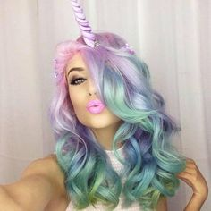 unicorn, hair, and pink image