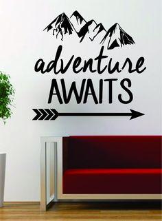 Adventure Awaits Version 2 Mountains Arrow Design Decal Sticker Wall Vinyl Art Decor Travel