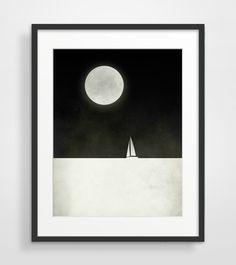 Black and White Print, Sailboat Art, Minimalist Poster, Nautical Decor on Etsy, $21.00