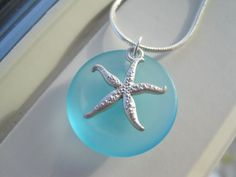 Blue Bridesmaid Jewelry  Starfish Necklace  Sea by Sparkleandswirl