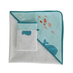 Cape de bain bébé + gant en coton bleu MARIN