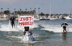 NEWPORT BEACH, CALIF. — Atop all usual the pre-wedding jitters, Grant and Amanda Engler had to learn how to master water-powered jet packs just hours before tying the knot.