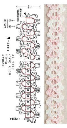 Crochet Bookmark Pattern, Crochet Edging Patterns, Crochet Headband Pattern, Crochet Lace Edging, Crochet Bookmarks, Crochet Diagram, Crochet Flowers, Crochet Cord, Crochet Chain