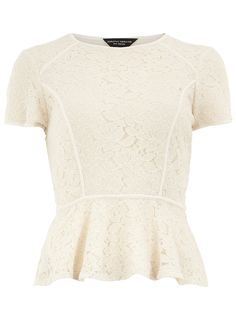 Ivory lace peplum top - Fashion Tops - Clothing - Dorothy Perkins United States