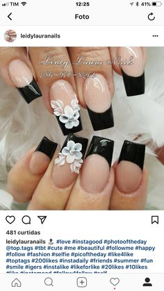 Silver Nail Designs, 3d Nail Designs, Square Nail Designs, Classy Nail Designs, Gorgeous Nails, Pretty Nails, Finger Nail Art, Floral Nail Art, Elegant Nails