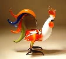 Vintage Murano Hand Blown Art Glass Rooster