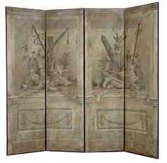 """""""Fontainebleu"""" hand painted grisaille screen with trompe l'oeil scene of hunting implements. Original artwork by Ray. Part of the RL Goins collection."""