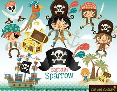 INSTANT DOWNLOAD Pirate digital clipart elements by CLIPARTGARDEN