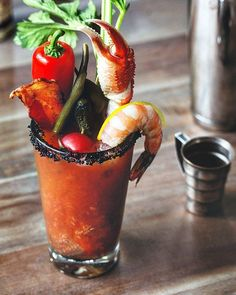 """697 Likes, 20 Comments - A Bachelor & His Grill (@bachelorsgrill) on Instagram: """"Ultimate Bacon&Crab Claw Bloody Mary! Loaded with heirloom tomatoes, hardwood smoked bacon, a…"""""""