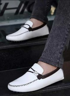 White double rope buckle leather slip on shoe loafer Mens Slip On Loafers, Mens Slip On Shoes, Leather Slip On Shoes, Loafers Men, Brogues, Loafer Shoes, White Slip On Shoes, Shoe Shop, Shoes Online