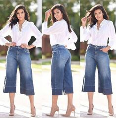 Look despojado e Chick ⭐ . Bata - P Pantacourt - 36 40 . Simple Outfits, Summer Outfits, Casual Outfits, Cute Outfits, Culottes Outfit, Denim Outfit, Fashion Pants, Fashion Outfits, Look Jean
