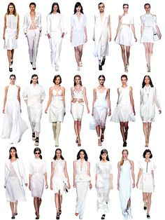 """NYFW Spring/Summer 2014 Trend: White Out Only a few days into NYFW and it's apparent that the """"it"""" color for spring/summer is white, showing up in nearly every collection shown so far.First Row (from L to R): Alexander Wang, Altuzarra, BCBG Max Azria, Chadwick Bell, Yigal Azrouel, Cushnie Et Ochs, Victoria Beckham. Second Row (from L to R): Derek Lam, Helmut Lang, Thakoon, Herve Leger, Jason Wu, Peter Som, Lacoste. Third Row (from L to R): Richard Chai Love, Honor, Rag & Bone, Diane Von Fu…"""