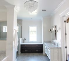 Pic On Luxurious Marble and polished nickel master bathroom by Rafterhouse