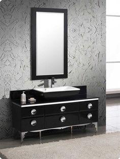 Contemporary Art Sites Fresca Moselle x Modern Glass Bathroom Vanity FVNBL