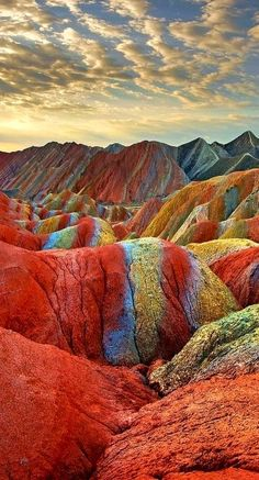 Rainbow Mountains at the Zhangye Danxia Landform Geological Park in Gansu , China