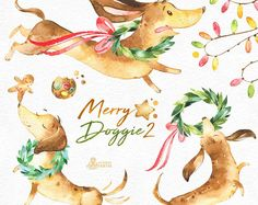 Merry Doggie 2. Christmas watercolor clipart , dachshund, dog, fun, cute animal, pet, floral, xmas, holly, greetings, red, green, holiday