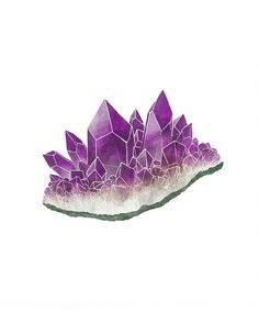 Amethyst Crystals, Gemstone Art Print, February Birthstone