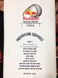 All india red bull college cricket !