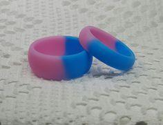 Silicone Aqua & Light Pink Women Female Girl Men Wedding Fashion Ring 6 - 14 #Unbranded #SiliconeWeddingRingBand