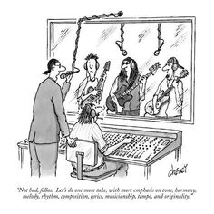 """Premium Giclee Print: """"Not bad, fellas. Let's do one more take, with more emphasis on tone, har…"""" - New Yorker Cartoon by Tom Cheney : Music Jokes, Music Humor, Funny Music, New Yorker Cartoons, Music Ed, Music Is Life, Music Stuff, Music Things, Silly Things"""