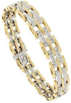 14k 2 Tone Gold 8.5 Inches Mens Pantera Bracelet With 1.00 Carat Brilliant Cut Diamonds